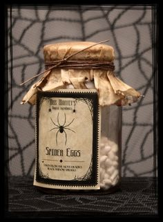 Pre-Made Witches Apothecary Jar - Spider Eggs. Halloween Apothecary Jars, Apothecary Decor, Halloween Potion Bottles, Apothecary Bottles, Easy Halloween Crafts, Diy Halloween Decorations, Holidays Halloween, Spooky Halloween, Harry Potter Potions