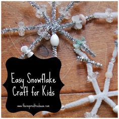 snowflake craft using pipe cleaners or wires with beads and other fun stuff!  We made these for a family snow party and they were a hit!  We also offered other snowflake making with paper and drawing - to satisfy different interests and accommodate ages and levels