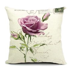 Pastoral Butterfly Floral Rose Cushion Cover Linen Cotton Cushions Retro Style Postmark Pillow Case 45x45cm For Home Decoration