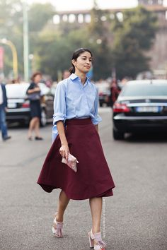 I adore this burgundy midi skirt and shirt combo! The perfect mix of masculine and feminine with the shirting and full skirt.