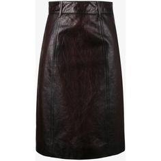Prada Leather Pencil Skirt ($1,800) ❤ liked on Polyvore featuring skirts, prada, knee length pencil skirt, brown pencil skirt, genuine leather skirt and brown leather skirt