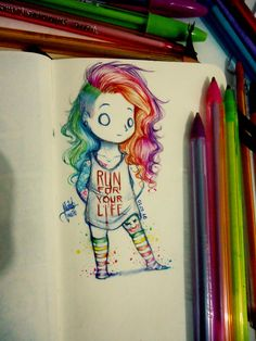 Get Ready For The Weekend With These 46 Delightful Pics - Funny Gallery Girl Drawing Sketches, Cartoon Sketches, Art Drawings Sketches Simple, Colorful Drawings, Easy Drawings, Pencil Art Drawings, Cartoon Art, Pretty Art, Cute Art
