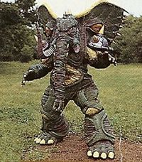 Elestomp is an elephant demon. He sent shockwaves through the ground. Elestomp was destroyed with a single shot of the Rescuebird. See Also Ganemuuja - Super Sentai counterpart in GoGoFive. See comparison page.