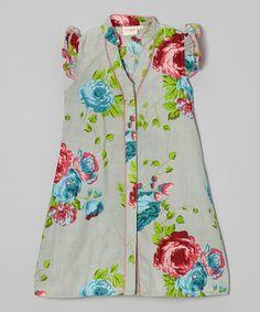 Loving this Gray Floral Angel-Sleeve Shirt Dress - Toddler & Girls on #zulily! #zulilyfinds