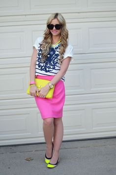 hot pink (pencil skirt) + neon yellow (shoes & clutch) + (white and dark blue striped + animal tee)