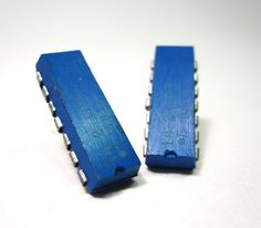 Computer Chip Earrings Cobalt Blue Rectangle by clonehardware, 10.00