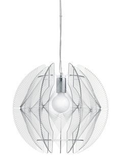 Mercury Pendant features clear acrylic filament wrapped around clear acrylic frame with Chrome canopy. One 60 watt 120 volt medium base incandescent lamp not included. 16.25 inch diameter x 15 inches high. 44 inch cord length<br />