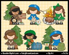 Girls Go Scouting Digital Clip Art - Commercial Use Graphic Image Png Clipart - Instant Download - Girl Scouts America Camping Hiking Smores