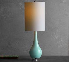 Cerena Ceramic Statement Table Lamp & Shade, Seafoam