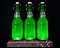 Grolsch Beer Bottle Lamp With Textured by DiamondLiquorLights