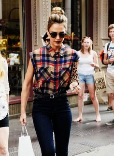 Whether paired with denim or a skirt, the pattern of a plaid blouse will always be one of our favorites!