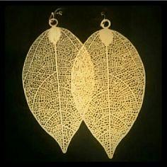 "Metal gold leaf earrings Color: gold Theme: Flower& leaf Size 1.6"" W, 3.5"" L Fish hook back Jewelry Earrings"