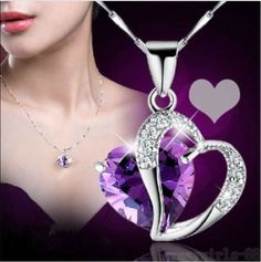 Chain-Pendant-Necklace-Jewelry-Fashion-Women-Heart-Crystal-Rhinestone-Silver