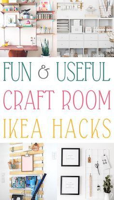 The Most Creative Craft Room IKEA Hacks Ever! Fun and Useful Craft Room IKEA Hacks It's time for one of your favorite things. this time it is all about Fun and Useful Craft Room IKEA Hacks that your Space will LOVE! Ikea Craft Room, Cricut Craft Room, Craft Room Storage, Craft Rooms, Ikea Storage, Storage Ideas, Ikea Hacks, Sewing Room Organization, Organisation Ideas