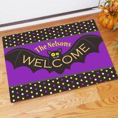 Personalized Halloween Bat Doormat