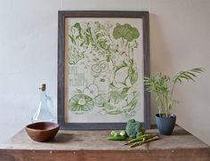 Eat More Plants 18x24 one color screenprint by Brainstorm