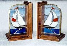 Sailboat bookends - stained glass gifts