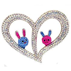 Two #Bunnies and #Heart Crystal #Brooch