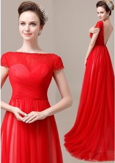 Short Sleeve Sweep Train A-Line Tulle Red Formal Evening Dress