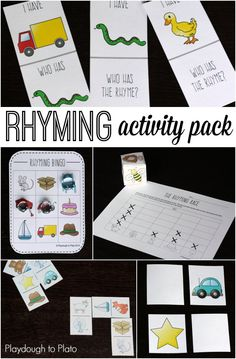 6 uber fun rhyming games for kids. A class set of I Have-Who Has, Bingo, Rhyming Dominoes and More. Awesome literacy centers or guided reading lessons.