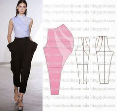 Moldes Moda por Medida: TRANSFORMAÇÃO DE CALÇAS - A slightly less bulky version of this would give the skirt with draped pockets look. Diy Clothing, Clothing Patterns, Dress Patterns, Sewing Patterns, Shirt Patterns, Fashion Sewing, Diy Fashion, Ideias Fashion, Fashion Details