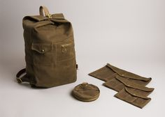 Military Duffle Backpack and all four pouches in Ranger Tan