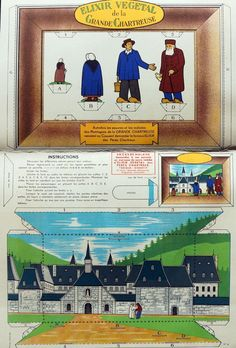 """Publicité vintage pour l'élixir végétal #chartreuse - Scénette à découper """"le couvent de la Grande Chartreuse""""  Essayez de la reconstituer chez vous !"""