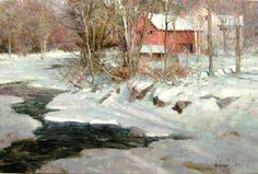 Alla prima landscape by Richard Schmid. Oil on canvas, 2009.  In Schmid's work, the hand of the artist is very much part of the work.