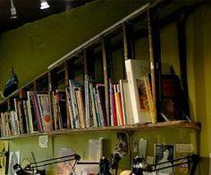Recycled ladder bookshelf.