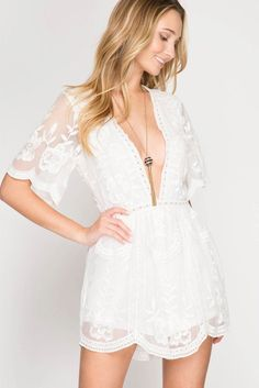 """""""Destination Honeymoon"""" Crochet Lace Romper - Off White This simple romantic lace romper boasts a plunging neck line and sheer lace overlay that takes you away to any tropical paradise. Honeymoon Attire, Honeymoon Style, Romantic Honeymoon, Romantic Lace, Honeymoon Clothes, Honeymoon Destinations, Cheap Honeymoon, Affordable Honeymoon, Maldives Honeymoon"""