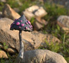 Grey pink mushroom  ,polymer clay toadstool Home decor,Fairy Garden