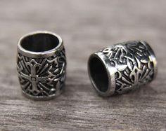 Stainless Steel 9mm 3/8' Hole Cross Dreadlock Bead Black Viking