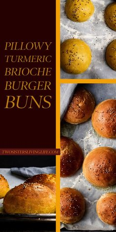 are super delicious and fluffy brioche buns with some added turmeric for a unique coloring! These buns always work out and will be great for every burger bbq. Bread Recipes, Cooking Recipes, Burger Recipes, Cooking Ideas, Drink Recipes, Burger Buns, Burgers, Good Food, Yummy Food