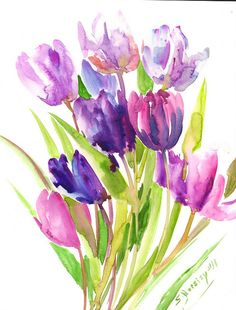 Purple Tulips Painting original abstract floral by ORIGINALONLY