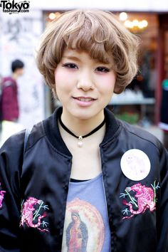 Cute Short Blonde Hairstyle, Nadia Jacket & Cutoffs in Harajuku    http://tokyofashion.com/cute-short-blonde-hairstyle-nadia-jacket-cutoffs-harajuku/