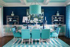 Cobalt blue and aqua. #HDS2012, design by Mabley Handler Interior Design
