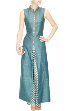 Teal star embroidered anarkali with beige star print pants available only at…
