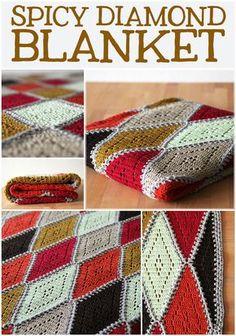 NL/EN De Spicy diamond deken is een gehaakte deken gemaakt van ruitmotieven, met een delicaat filet patroontje in het midden. Ook beschikbaar in het engels.