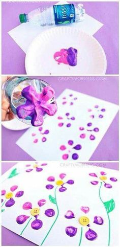 Make Bottle Print Button Flowers! Fun kids craft idea for Spring or Summer! What a gorgeous and quick flower craft! Daycare Crafts, Fun Crafts For Kids, Crafts To Do, Preschool Crafts, Easter Crafts, Projects For Kids, Flower Craft Preschool, Toddler Summer Crafts, Preschool Ideas