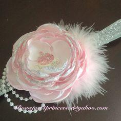 Diadema rosa bebé, princesa Cinderella cabeza, Foto Prop, traje de Cenicienta, venda de la muchacha bebé, flor de lujo, USA y en todos hechos a mano!!!!!!