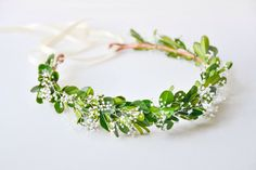 Green flower crown, Woodland wedding hair accessories, Bridal headpiece, Floral wreath, Bohemian - GAIA by NoonOnTheMoon on Etsy https://www.etsy.com/listing/235249143/green-flower-crown-woodland-wedding-hair
