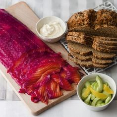 Beetroot and gin cured salmon has a sweet, salty flavour with a vibrant colour and makes a really lovely dinner party starter Salmon Recipes, Seafood Recipes, Cooking Recipes, Healthy Recipes, Lunch Recipes, Gin Recipes Food, Raw Fish Recipes, Smoked Salmon Starter, Christmas Starters