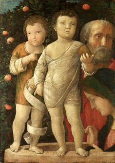 "Andrea Mantegna (Italian, Early Italian Renaissance, c. 1431-1506): The Holy Family with Saint John, c. 1500. The National Gallery, London, UK.  ""The subject matter and the composition (which may have been cut down) are unusual."" (Medium and support details from The National Gallery, London)  Read more: http://www.nationalgallery.org.uk/paintings/andrea-mantegna-the-holy-family-with-saint-john/*/key-facts1010377_529438713777314_2015115655_n.jpg (675×960)"