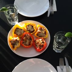 Black bean burger-stuffed peppers! Delicious vegetarian main; great with baked potatoes or rice on the side.