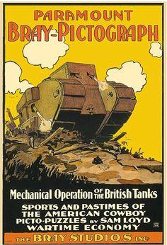 Bray Studios British tanks poster from 'World war One Tanks,Trucks & Armoured Cars'  amazon.com