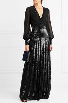 Temperley London | Filigree pleated sequined chiffon gown | NET-A-PORTER.COM