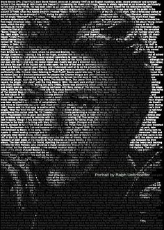 David Bowie.  Mind-Blowing Text Portraits of Famous Musicians and Artists by Caroline Stanley. Image credit: Ralph Ueltzhoeffer
