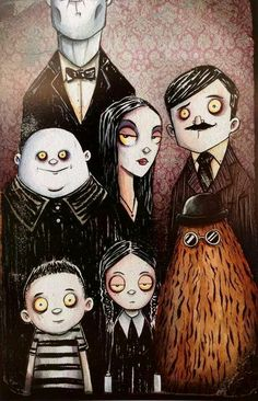 """The Addams by Christopher Uminga ~ """"They're creepy and they're kooky,Mysterious and spooky, They're altogether ooky, The Addams Family ."""" ~Theme from The Addams Family tv show, which ran from 1964 to 1966 Arte Tim Burton, Tim Burton Style, The Addams Family, Adams Family, Family Tv, Arte Horror, Horror Art, Illustrations, Illustration Art"""