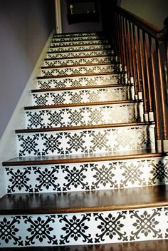 A vinyl decal applied to the threads of the stairs.