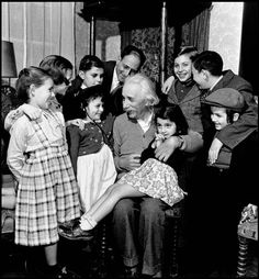Albert Einstein's 70th birthday party, 1949   by Philippe Halsman